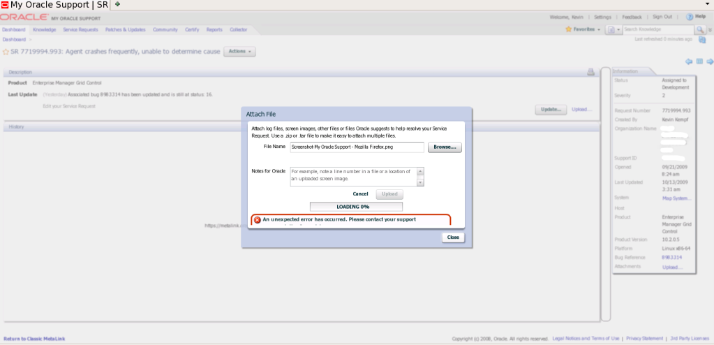 Uploading an attachment to an SR under Firefox 3.5 with Flash and My Oracle Support