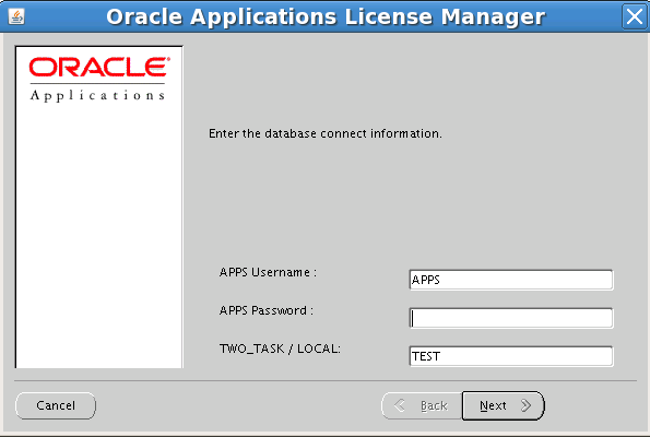 Oracle Applications License Manager (Java)